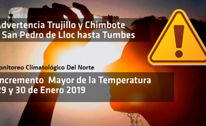 Advertencia de incremento Mayor de la Temperatura del Aire: 29 y 30 de ENERO 1PM: #alertanaranja